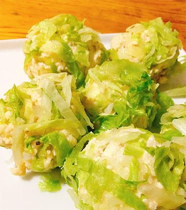 レタスで包む!ふわふわ豆腐シュウマイ